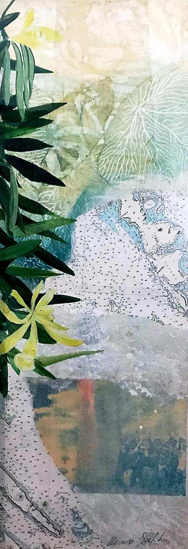 Pohon Vanilla, mixed media on canvas framed glass