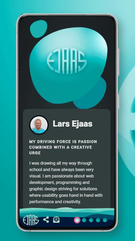 Screenshot of larsejaas.com index page on smartphone