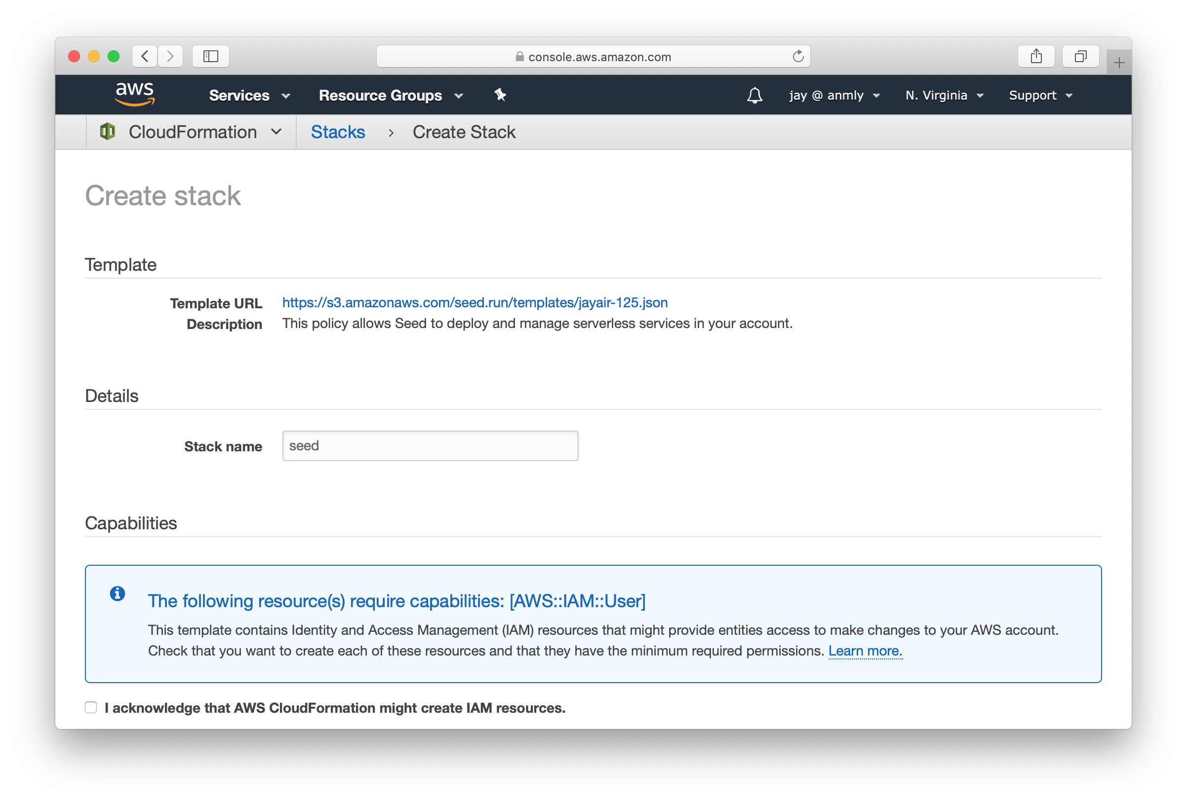 CloudFormation Seed template screenshot