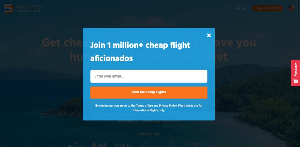 Cheap flights popup