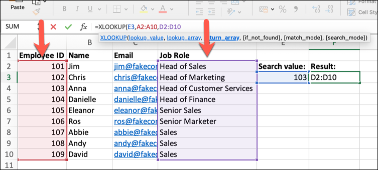 An Excel spreadsheet containing four columns of data: Employee Name, ID, Email Address, and Job Role. The lookup_array and return_array functions have been applied and two columns of data highlighted.