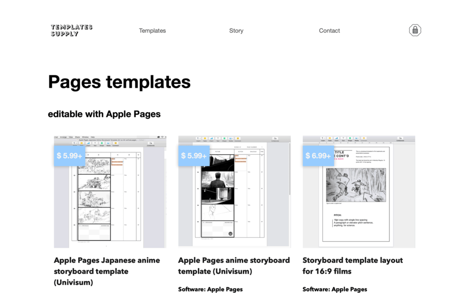 Template Supply Apple Pages templates page