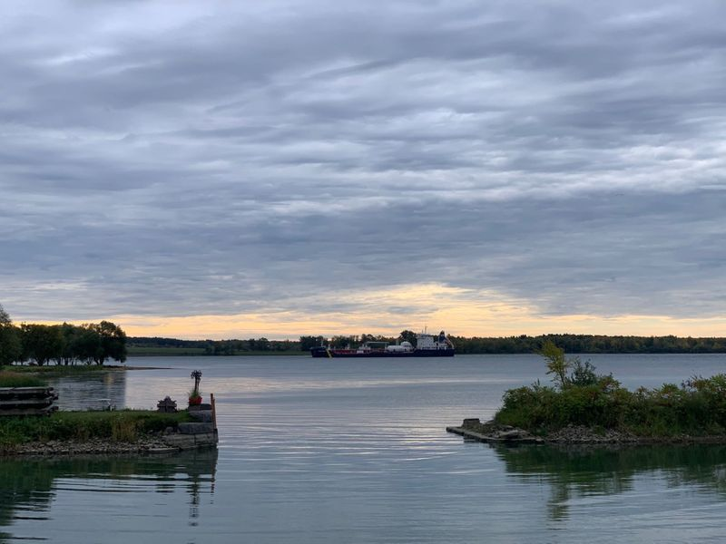 Freighter on the St Lawrence river