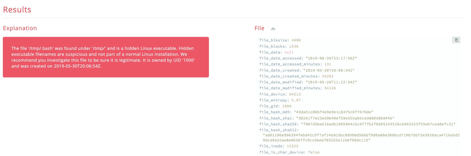alarm file attributes example