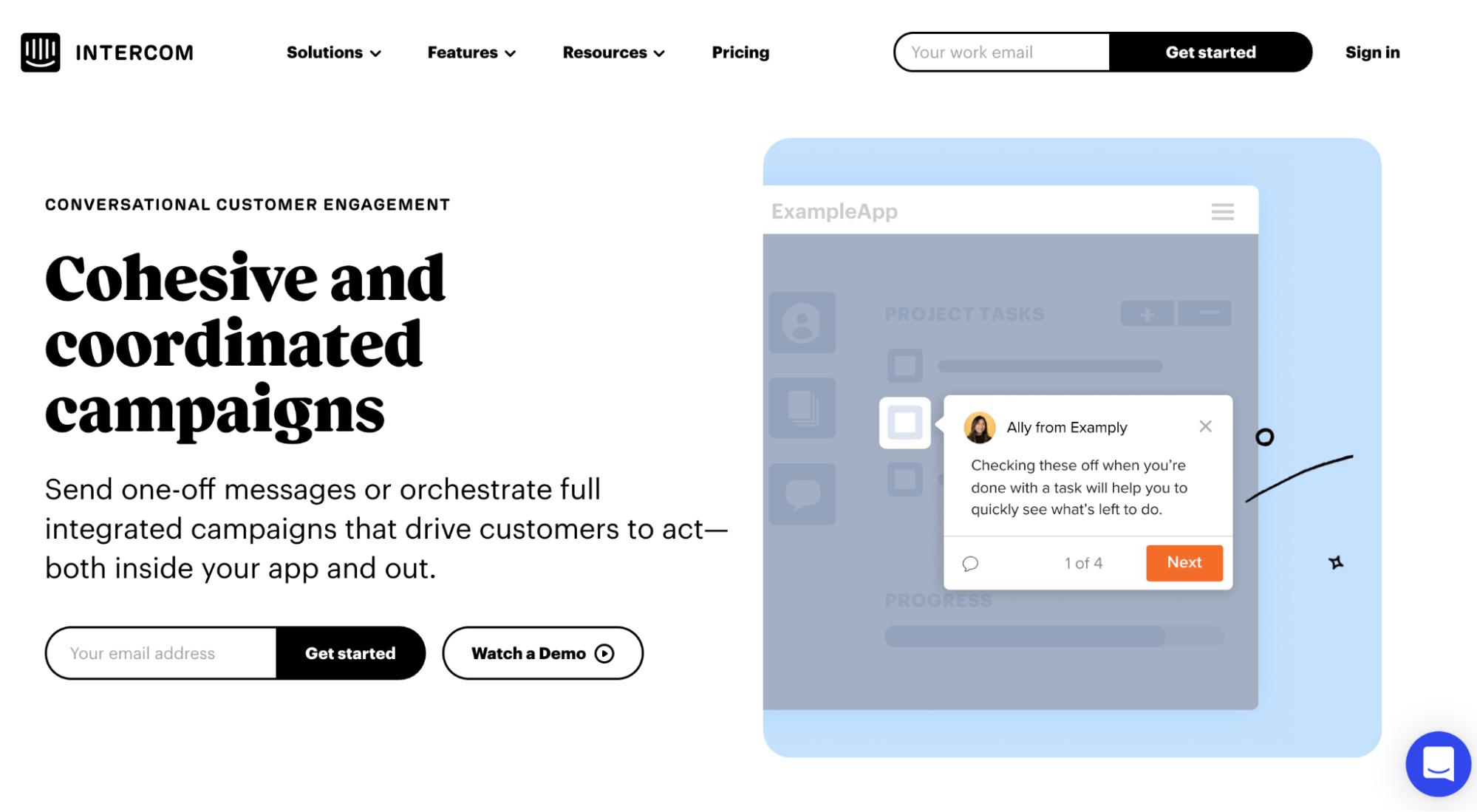 User Onboarding Software: Intercom screenshot