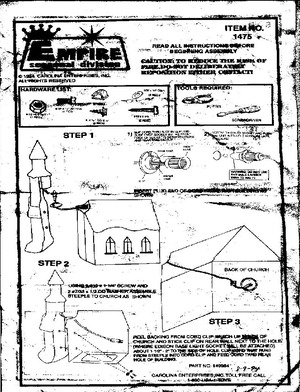 Empire Church With Steeple #1475 Instruction Manual preview