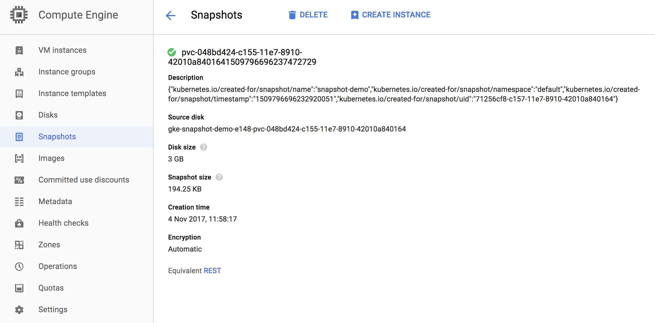 Google Compute Engine snapshot