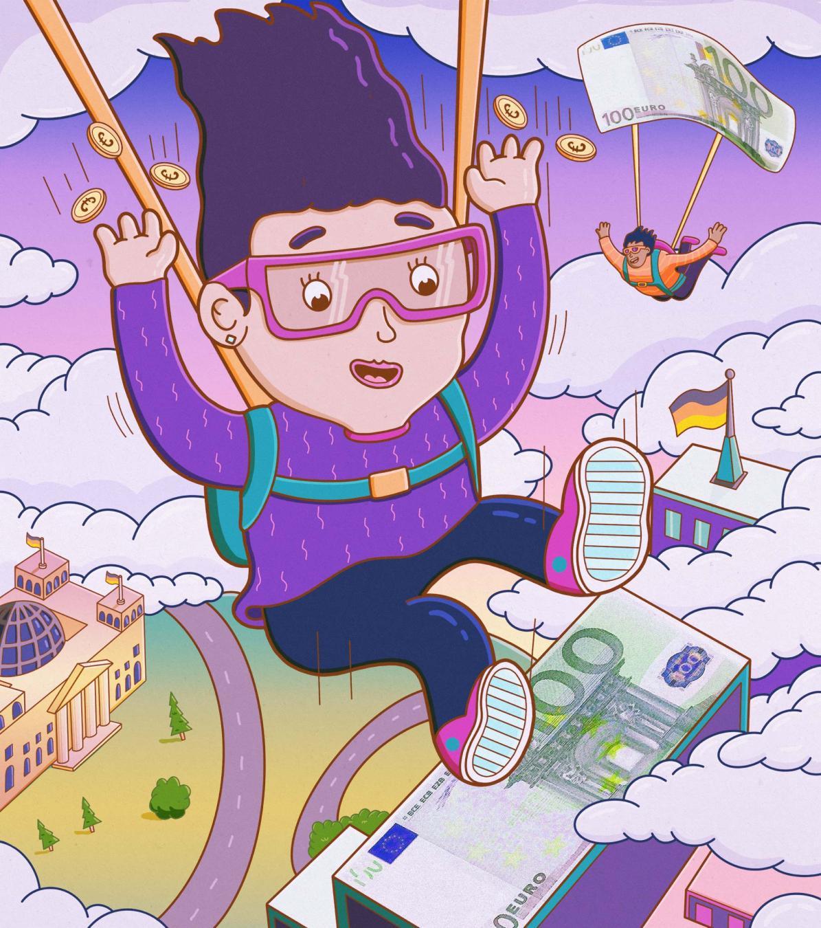 Grundeinkommen: Zwei Menschen fliegen mit Fallschirmen aus Geldscheinen durch die Luft