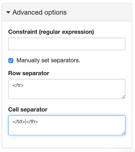 Open the Advanced Options panel to manually set separators