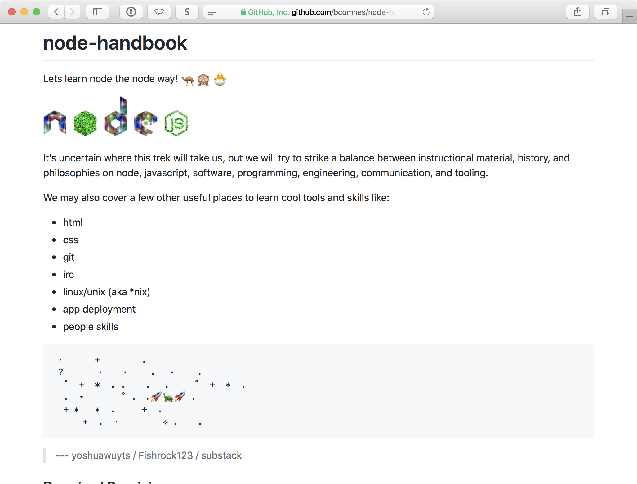 Screenshot of Node.js handbook