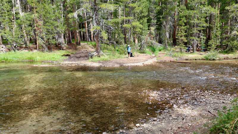 An easy crossing of Evolution Creek