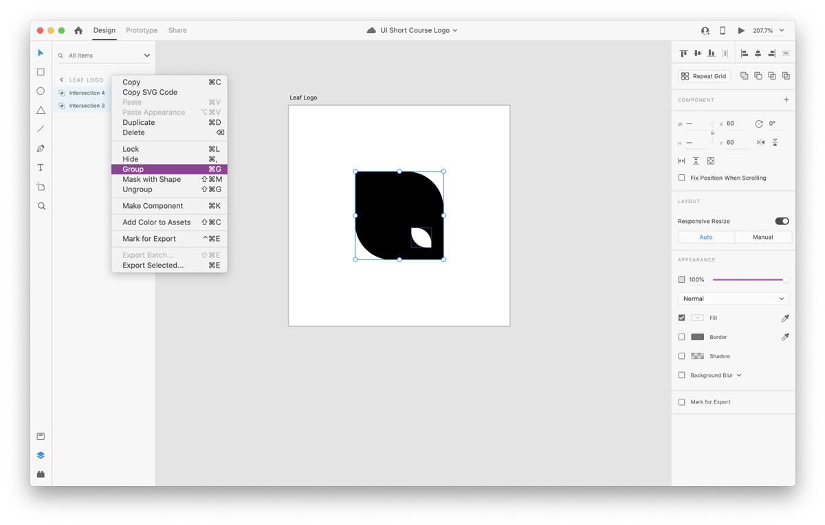 Grouping layers in Adobe XD