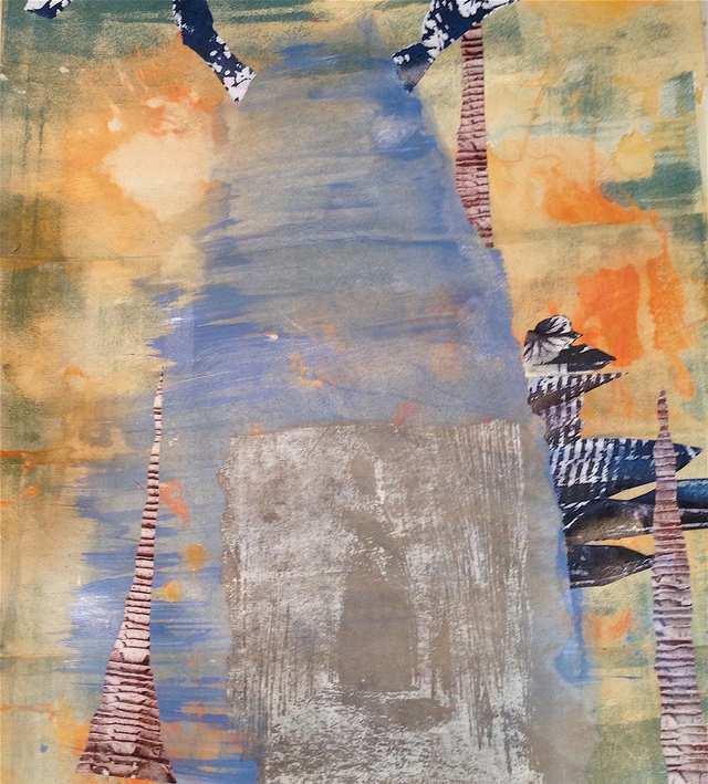 Beringin Home, mixed media on paper