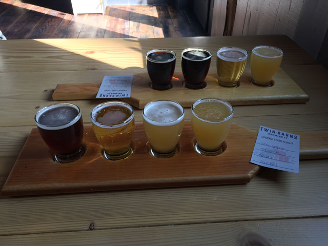 A tasting flight of Twin Barns craft beer