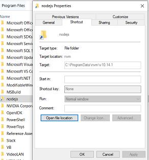 Properties of the nodejs link in Program Files