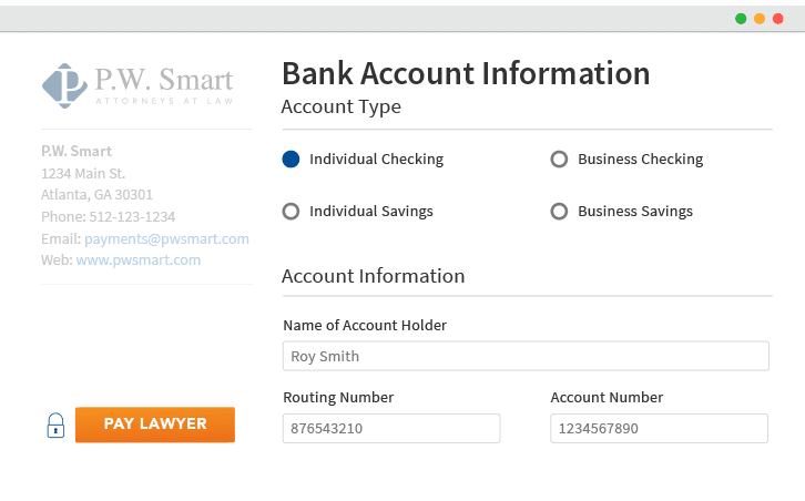 An eCheck screen with bank account type, account information fields, and payment button