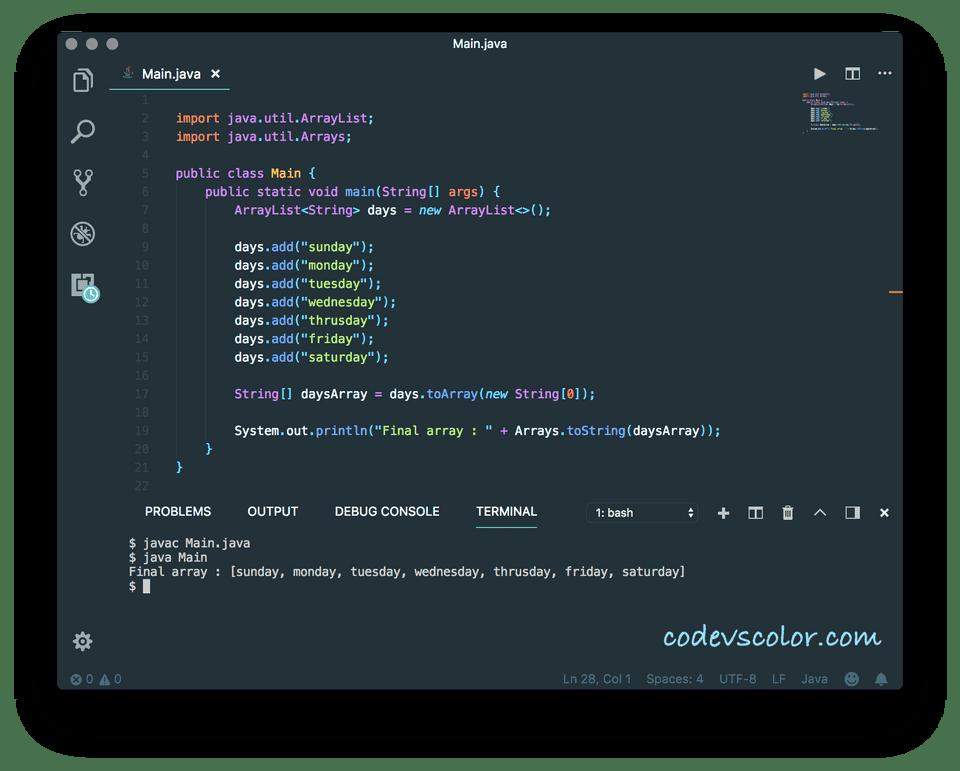 ArrayList to an array Java