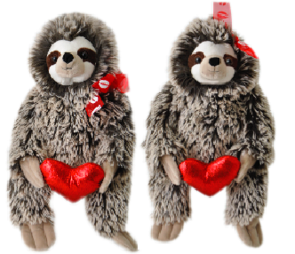 "The Petting Zoo: 12"" Valentine Sweet Sloth Assorted"