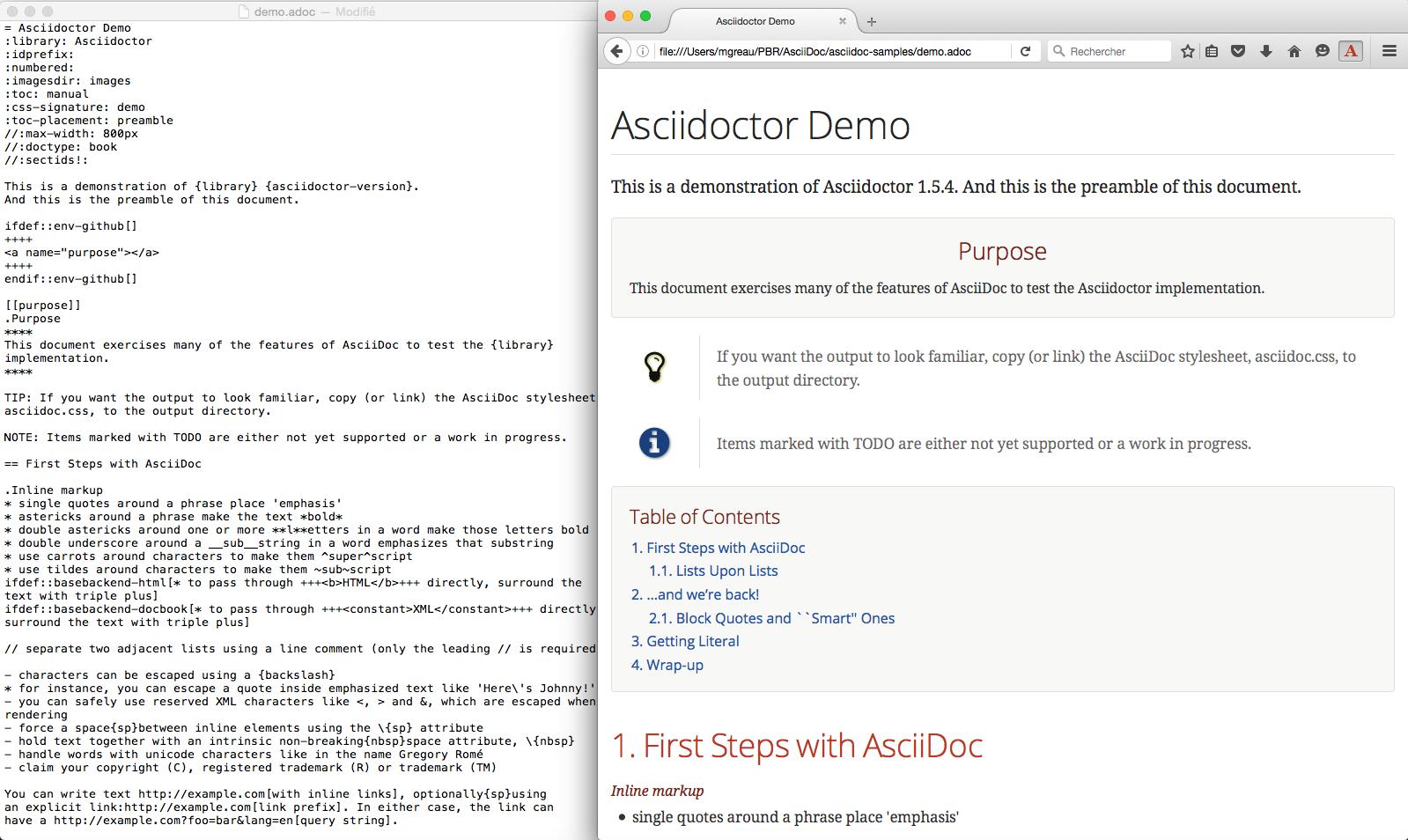 Firefox Asciidoctor.js Live Preview