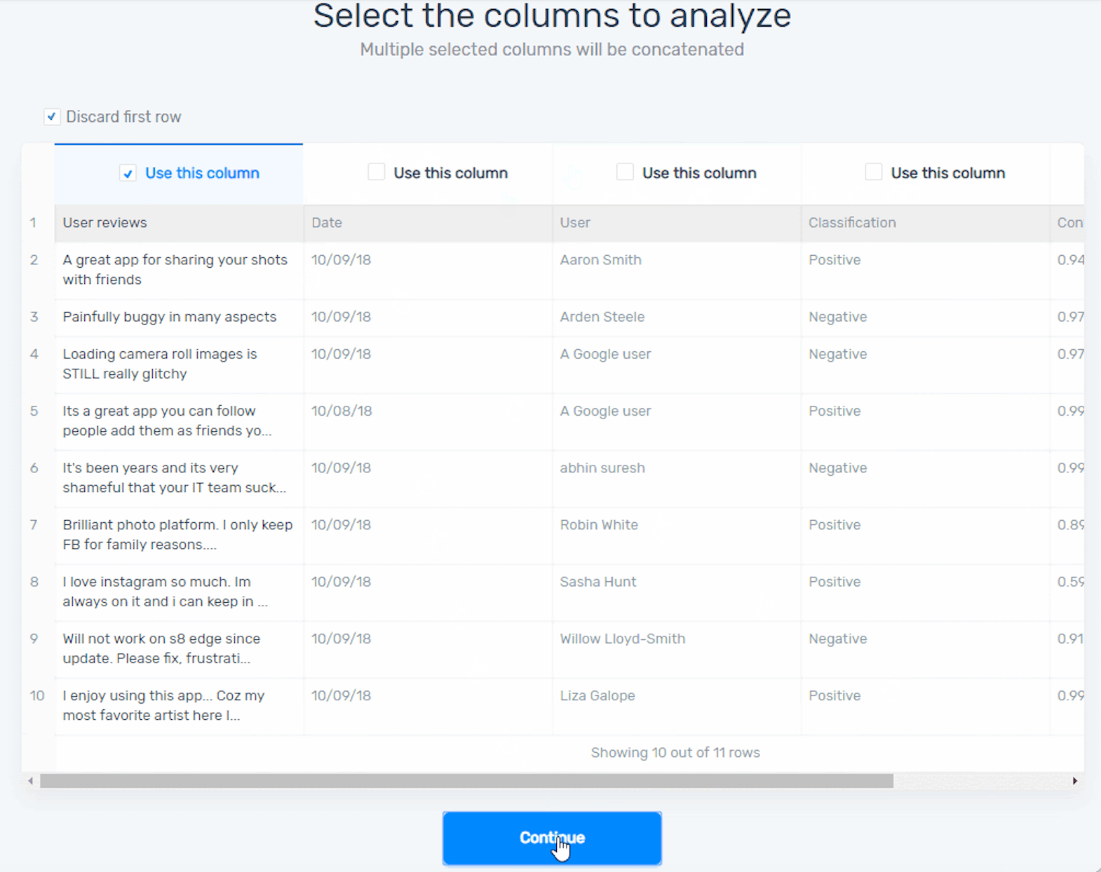 How to select the correct data. Check the column with your text data