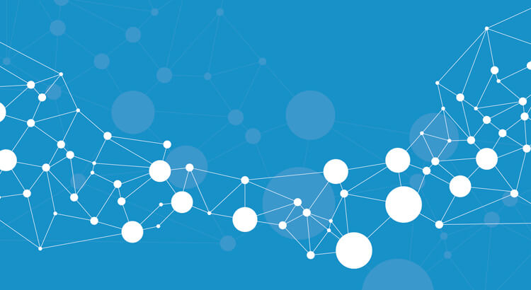 Blue background, with white dots and lines representing the Internet of Things