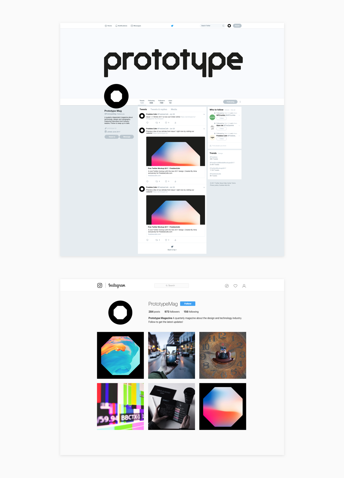 How the brand is presented on twitter and instagram