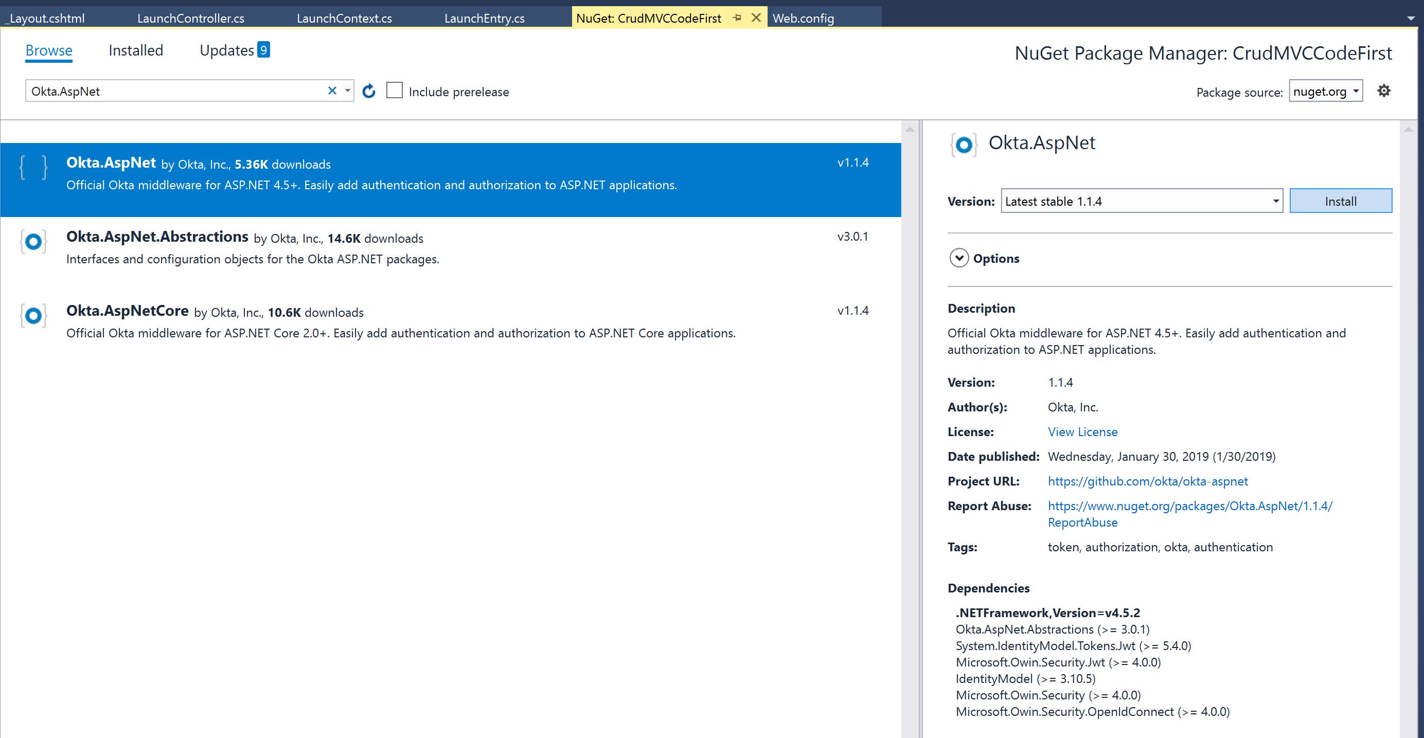 Visual Studio NuGet install Okta.AspNet