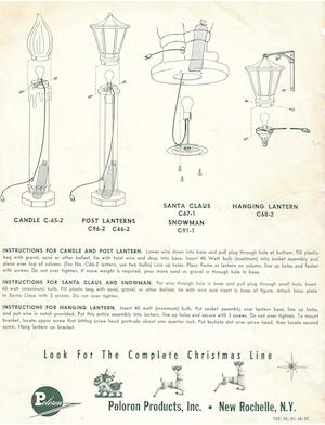 Poloron Products Candle #C-65-2, C-39-2, Post Lantern #C96-2, C66-2, Santa Claus #C67-1, Snowman #C91-1, Hanging Lantern #C68-2 Instruction Manual.pdf preview
