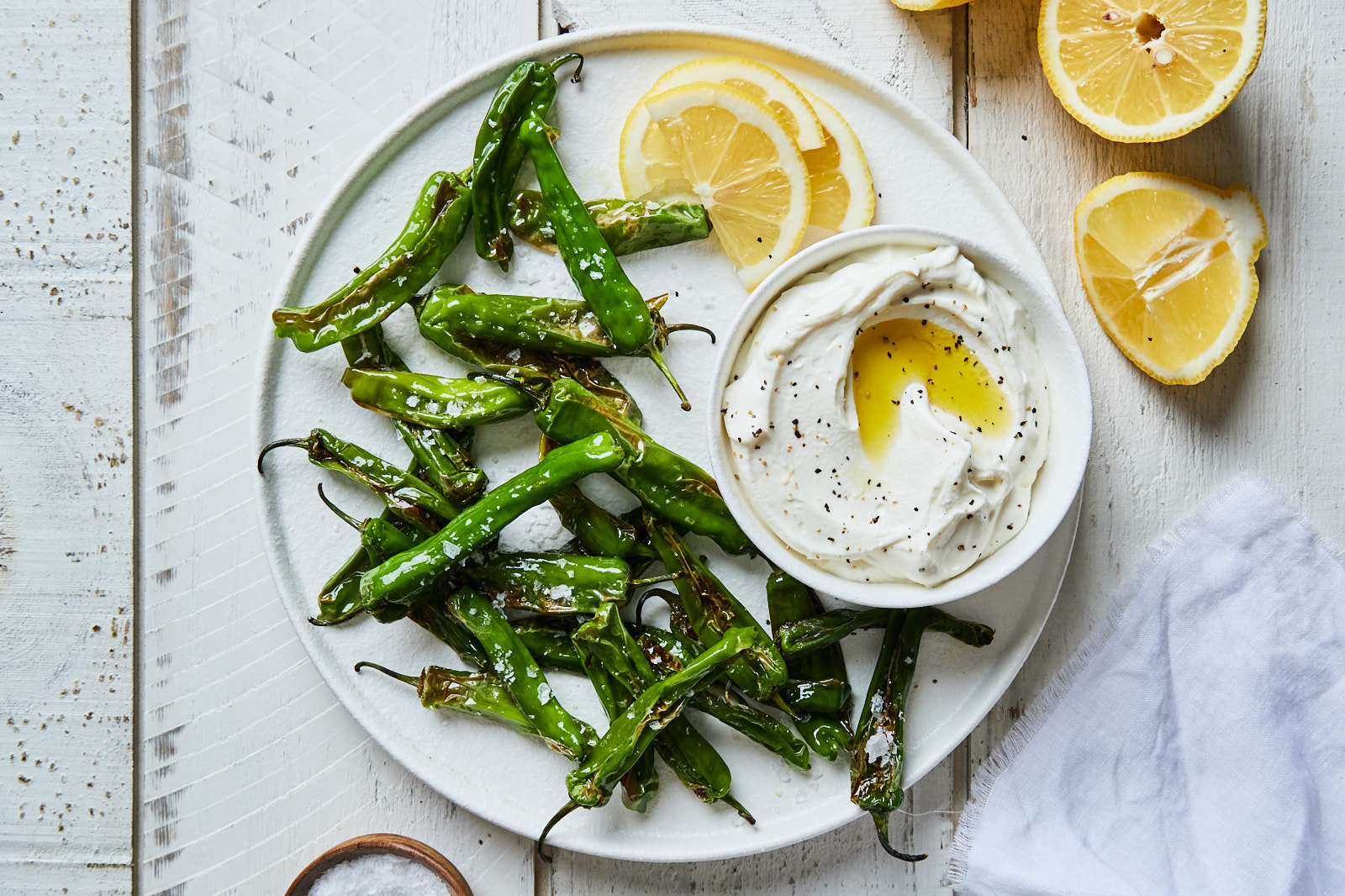 Blistered Shishito Peppers With a Lemony Whipped Goat Cheese Dip