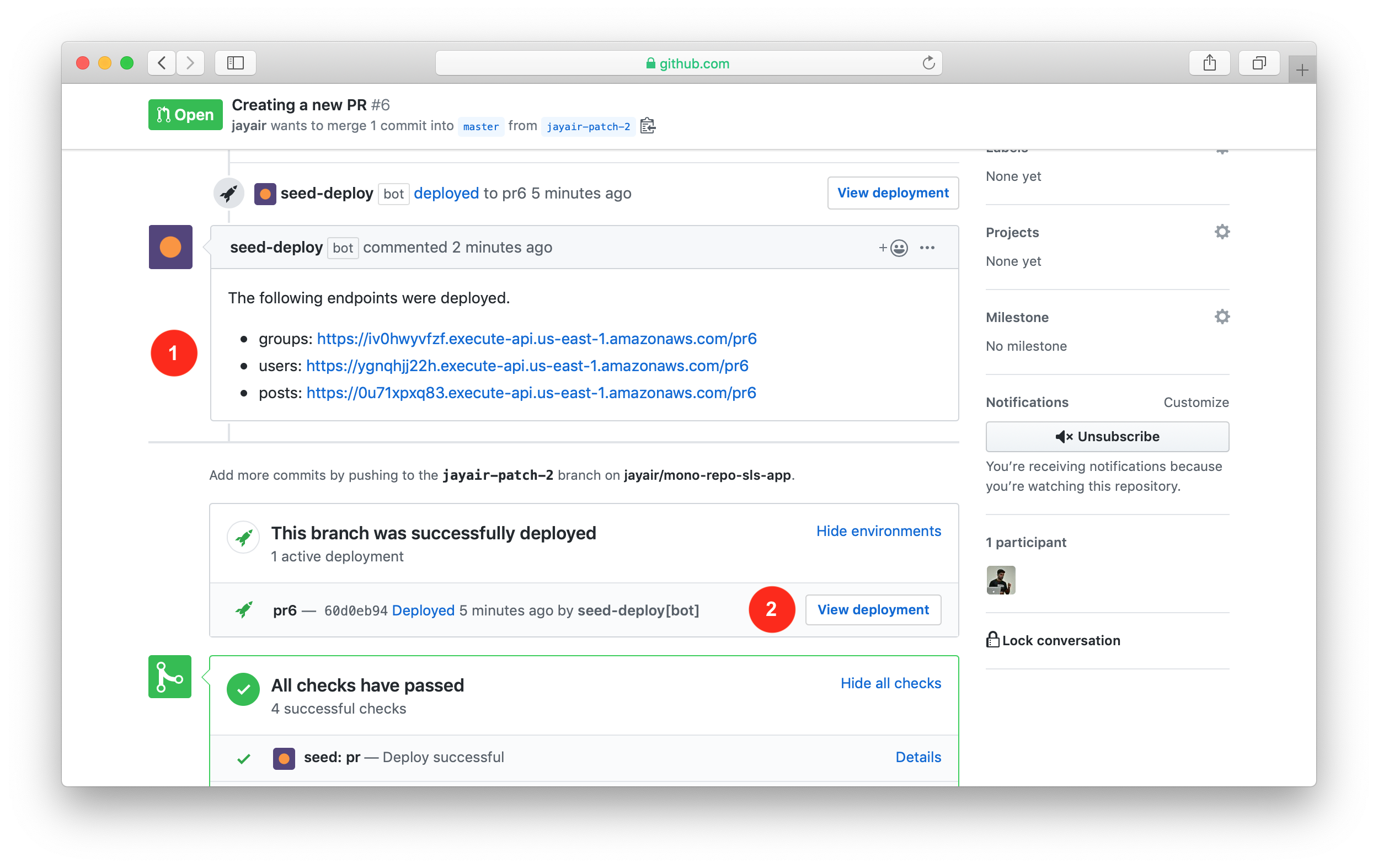 Seed PR complete info in GitHub