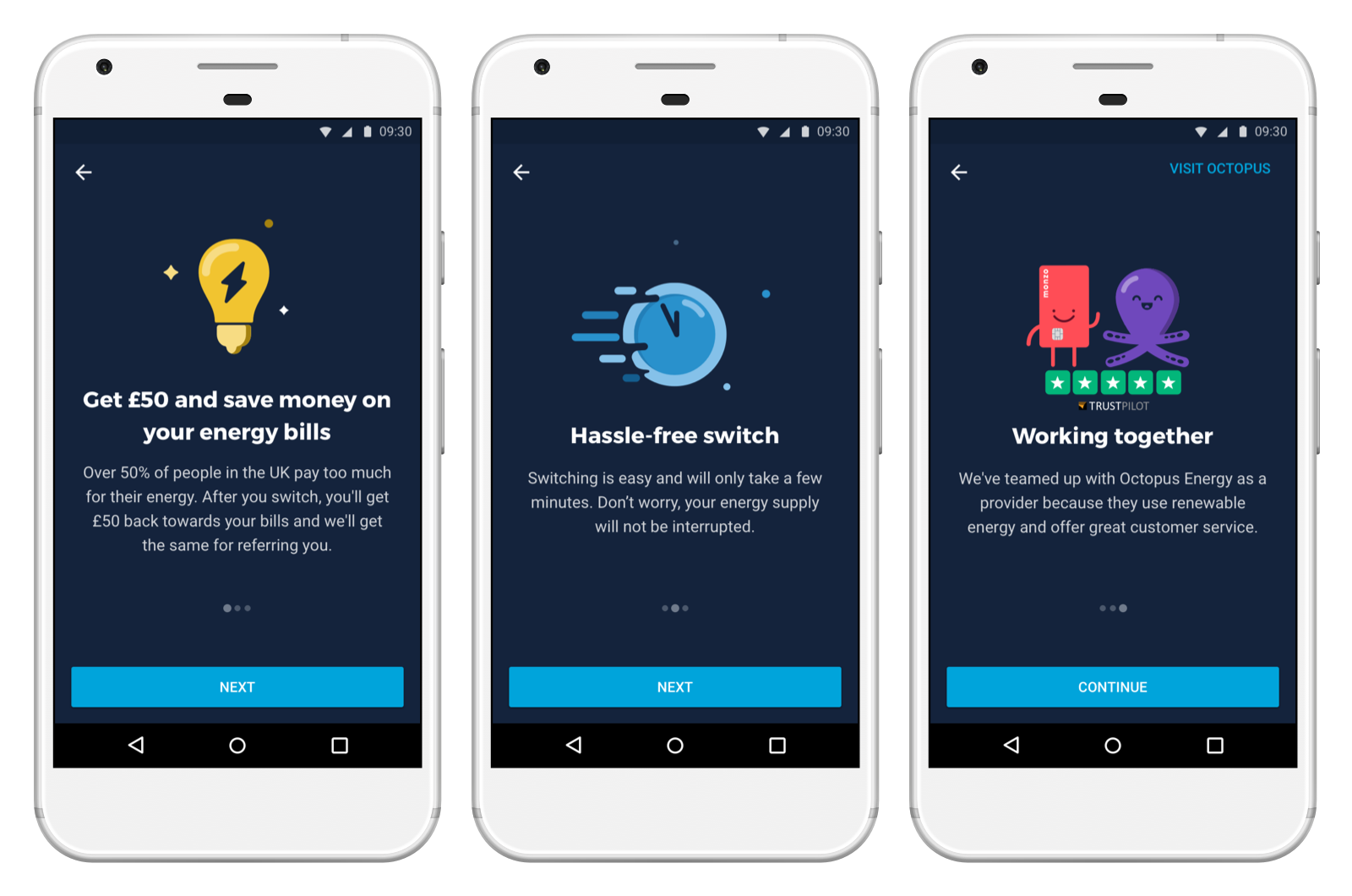 Screens showing the option to switch to Octopus Energy in the Monzo app