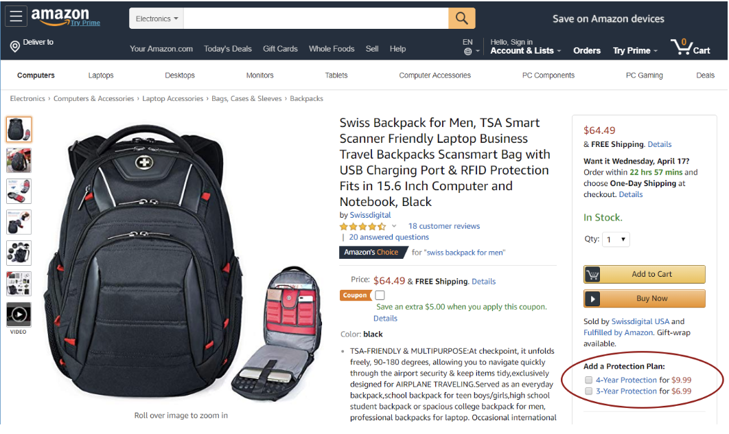 amazon, a $60 backpack warranty for 4-year protection @ $9.99