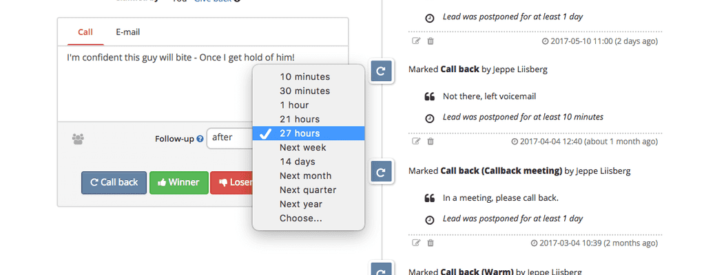 Use our powerful scheduler to stay on track and persistently follow-up on leads