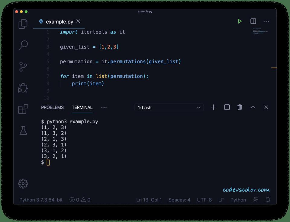 Python permutation list