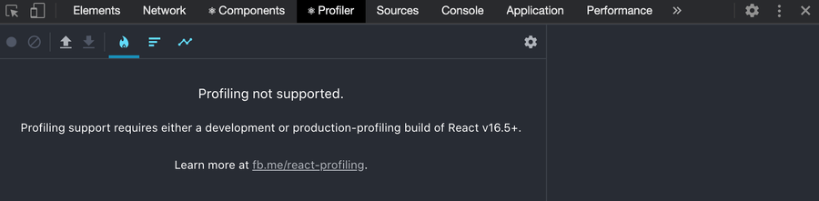 React DevTools with the message: Profiling not supported.