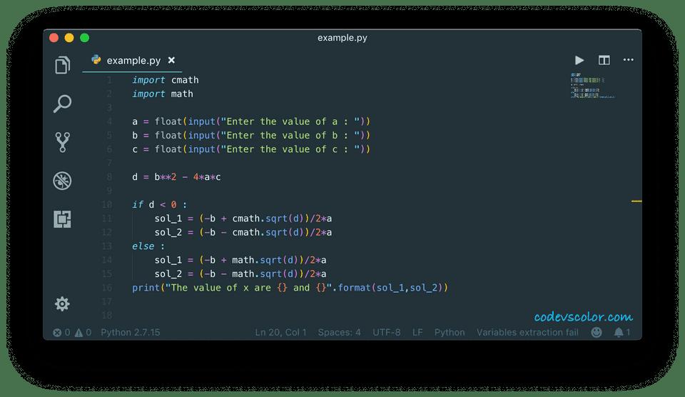 python program to solve quadratic equation