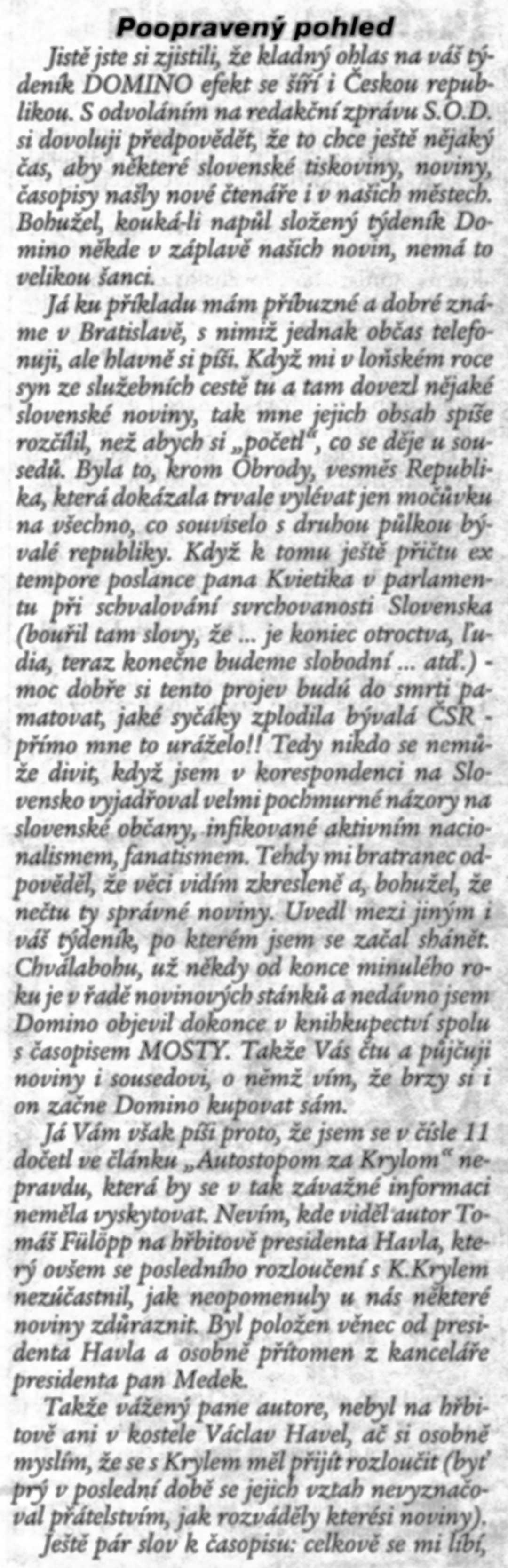 Domino efekt, č. 13, 19940401