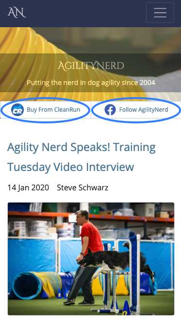 Clean Run and AgilityNerd Facebook link locations