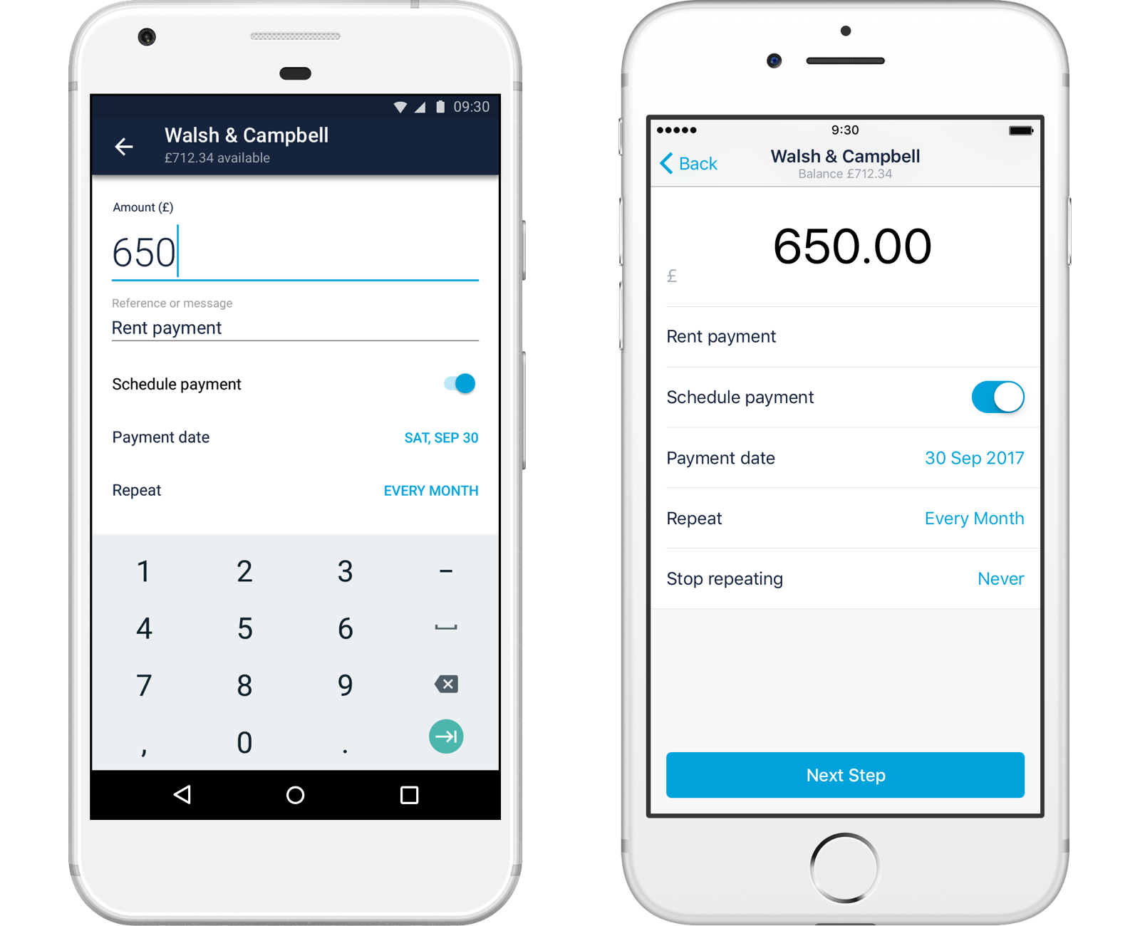 Screenshots of current account direct debit in both Android and iOS