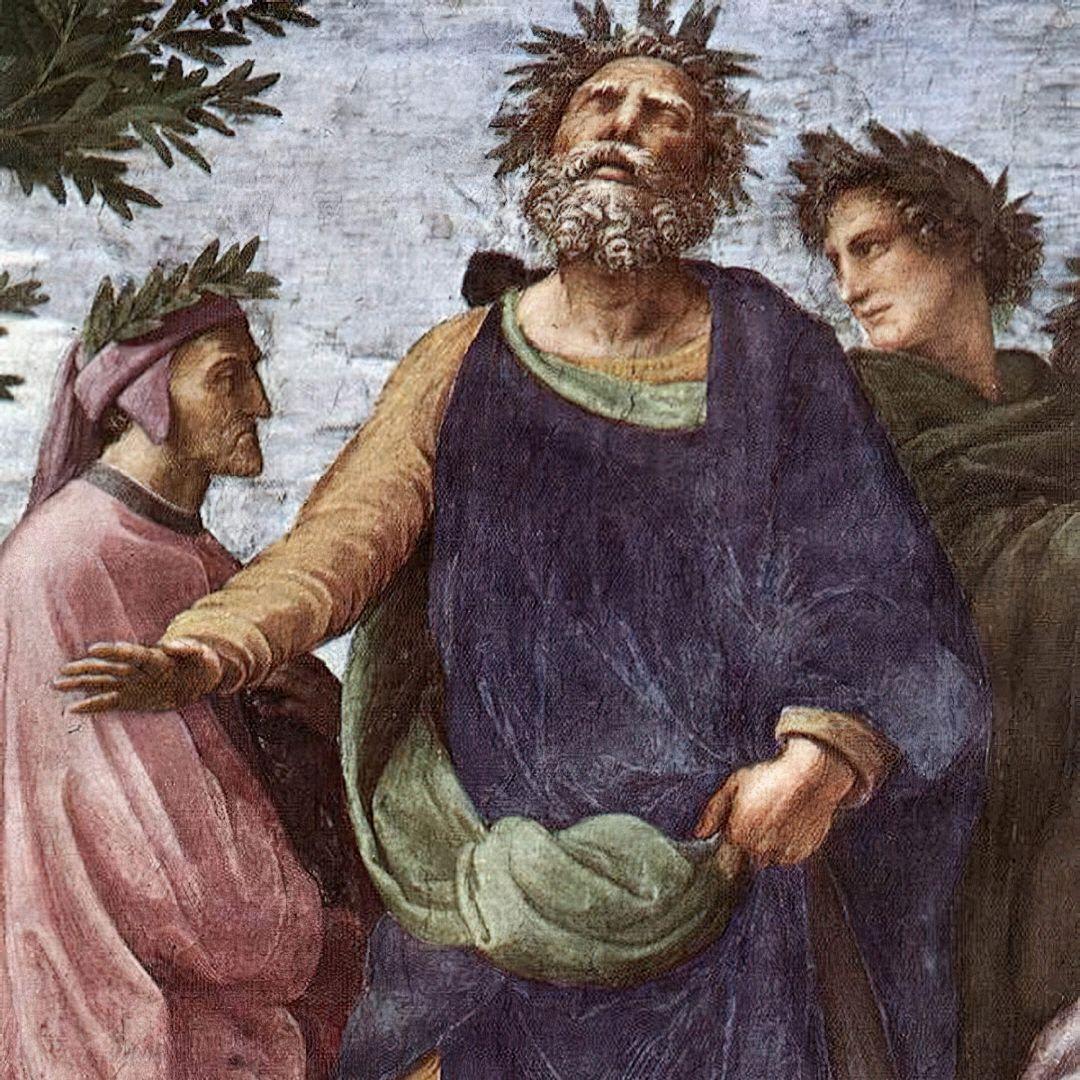Ключевые фигуры взападном каноне Данте, Гомер иВергилий нафреске Рафаэля Санти «Парнас» / wikipedia.org