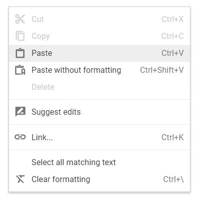 Google Docs right click menu
