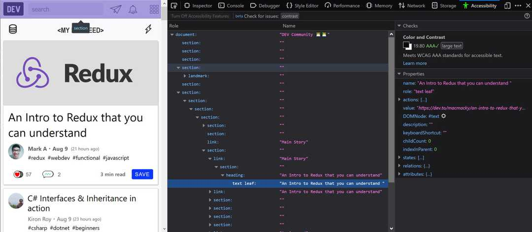Accessibility panel in Firefox Developer tools