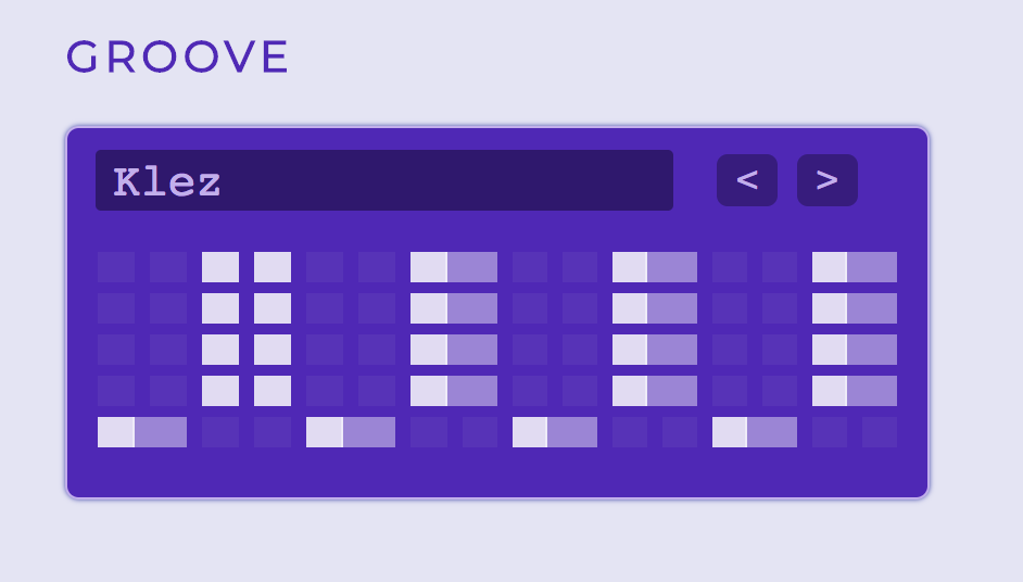 A purple box titled 'Groove' that shows different arpeggiation patterns and is currently selecting one called 'Klez.'
