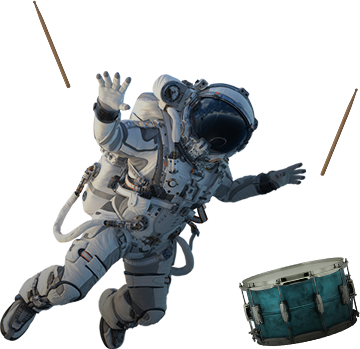 astronaut with drums