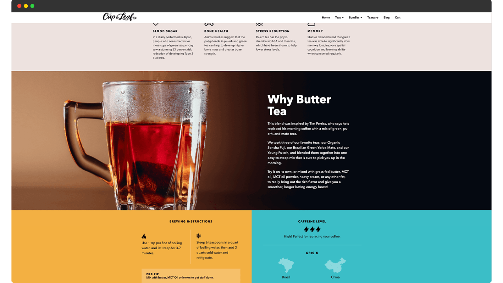 Cup and Leaf product page