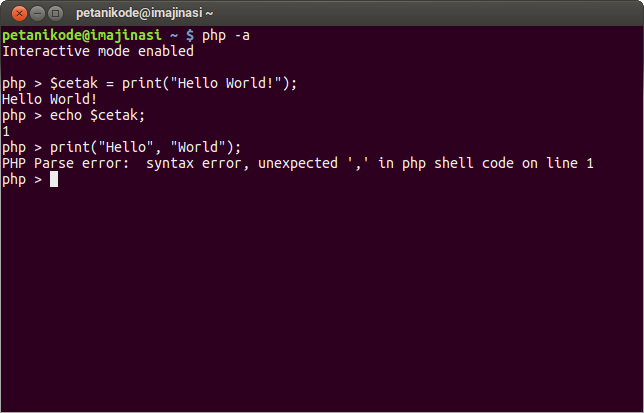 Print function on the PHP Console