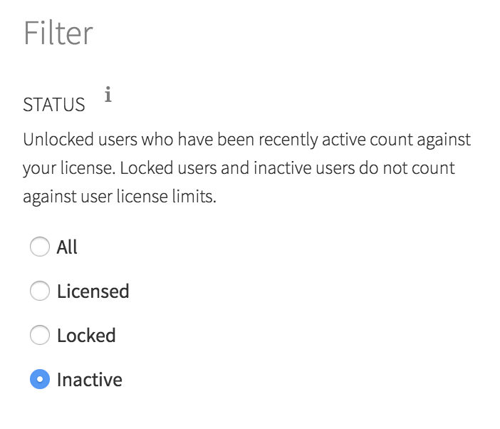 Admin user filter showing active, locked, and inactive users