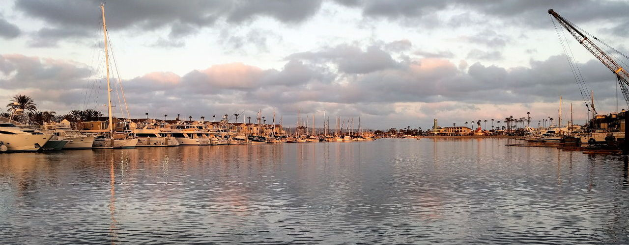 View of Newport Bay from behind Woody's Wharf