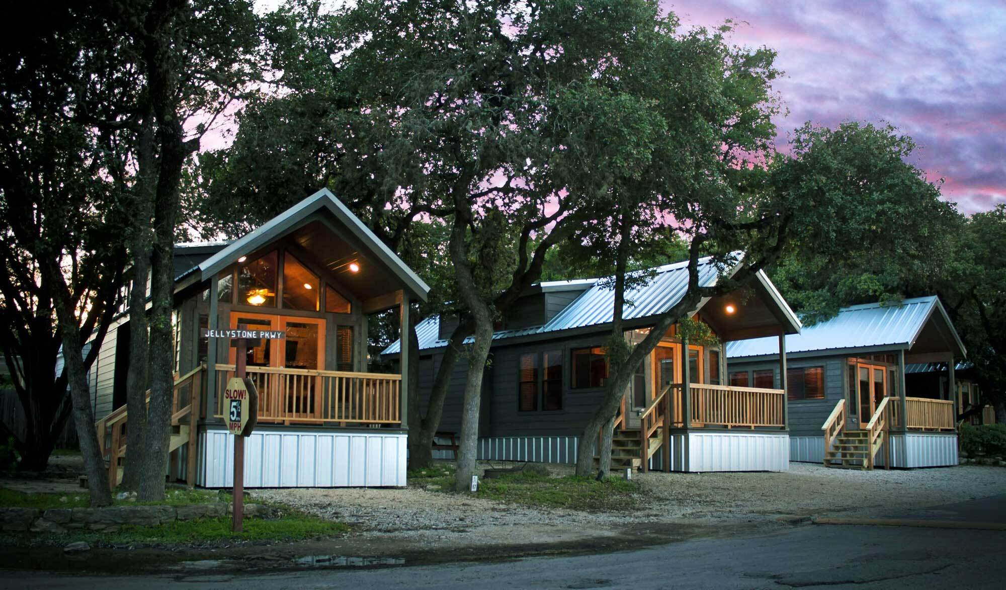 Cabins at Yogi Bear's Jellystone Park Camp-Resort in Hill Country, Texas.