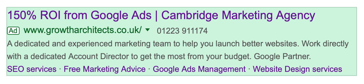 An example of our agencies advert